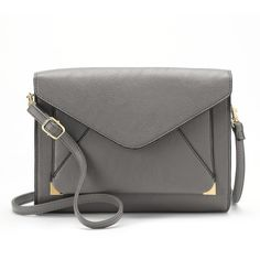 Apt. 9® Anna Crossbody Clutch, Women's, Gray ($23) ❤ liked on Polyvore featuring bags, handbags, clutches, grey, vegan leather purse, faux leather crossbody purse, gray handbags, vegan handbags and grey crossbody purse