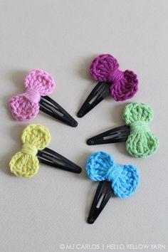 Crochet-Bow-Hair-Clip-HYY-17 - easy mini bow for booties, socks, etc