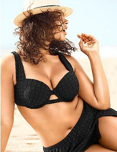 Timelessly sexy in crochet, this bandeau bikini top hits the beach with confidence. Designed to create curves, it offers built-in underwire support with lightly shaped cups, adjustable &  convertible straps, and hidden bra back closure. Pair with the matching Crocheted Swim Skirt (sold separately), or any of your favorite swim bottoms. lanebryant.com