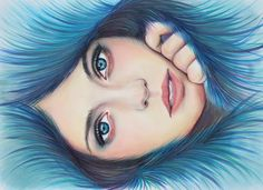 """Feeling Blue"" by Joanne Barby (C) Copic Markers, PanPastel and Prismacolor Pencils Copic Marker Drawings, Copic Markers, Colorful Artwork, Sketch Inspiration, Prismacolor, Pencil Art, Pastels, Painting & Drawing, Sketching"