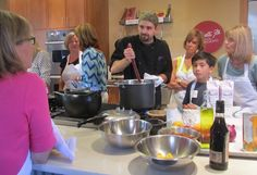 Chef Patrick has everyone's attention as he demonstrates how to make caramel bread pudding....YUM!