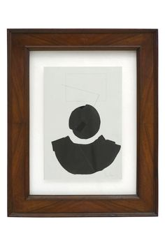Framed black and white watercolor painting by Franco Ferrari (1929 - 2000) floating under glass in wooden frame.Italy, circa 1981