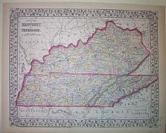 County Map of Kentucky and Tennessee, S. Augustus Mitchell (Jr.), Mitchell, Samuel Augustus (Jr.) (Published:   1872. Philadelphia)