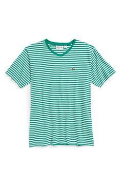 Lacoste Short Sleeve Stripe V-Neck T-Shirt (Toddler Boys, Little Boys