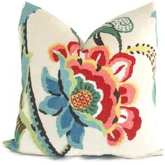 Brunschwig and Fils Spring Flowers Decorative Pillow by PopOColor