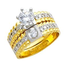 Yellow and White Gold Round-cut CZ Cubic Ziconia Solitaire Ladies Engagement Ring and Wedding Band 2 Two Piece Set