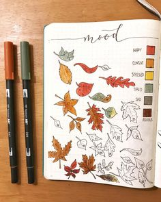 bullet journal octobre The weather is cooling and Halloween is approaching, that means that it is fall! Here is a compilation of over 30 Autumn-inspired bullet journal layouts! Autumn Bullet Journal, December Bullet Journal, Bullet Journal Tracker, Bullet Journal Inspo, Bullet Journal Spread, Bullet Journal Layout, Bullet Journal Leaves, Filofax, Bullet Journal Calendrier