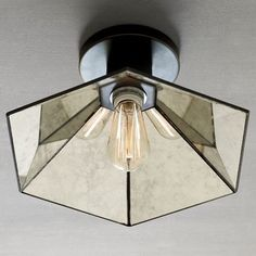 to replace can light  Faceted Mirror Semi-Flush Fixture - contemporary - ceiling lighting - West Elm