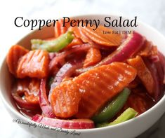 Copper Penny Salad has been on our family table for years. My grandma or my great aunt would always bring it to family picnics and church potlucks. Granted what they were making had canned tomato soup in it which is not Trim Healthy Mama friendly. I recently remade this recipe to be Trim Healthy Mama […] The post Copper Penny Salad {Low Fat} appeared first on Wonderfully Made and Dearly Loved.