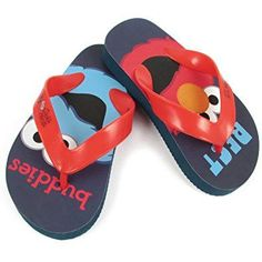 7b6c3f97801 Sesame Street Elmo and Cookie Monster Toddlers Flip Flops Blue Red