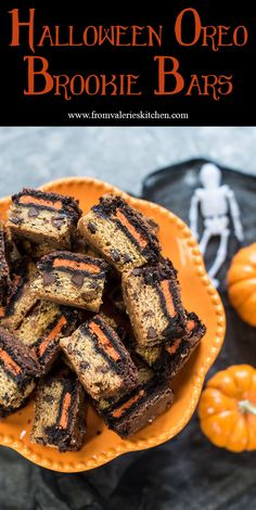 There are three delicious layers in these Halloween Oreo Brookie Bars. A really simple way to add a colorful and very tasty treat to your Halloween festivities! ~ http://www.fromvalerieskitchen.com