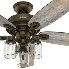 Hunter 59135 key biscayne 54 weathered zinc ceiling fan with five hunter fan regal bronze ceiling fan includes three light fitter with clear glass 5 blade certified refurbished appliances mozeypictures Image collections