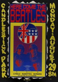 As the San Francisco scene music was coming into prominence, the Beatles staged what was to be their final public appearance in August 1966. Created by Wes Wilson, this is the only psychedelic Beatles Concert poster and it is nearly impossible to find in top condition. www.psychedelicartexchange.com