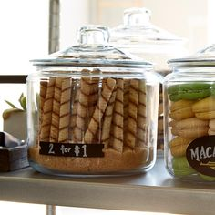 Anchor Hocking Glass Canisters with Glass Lids Kitchen Island Decor, Kitchen Jars, Kitchen Containers, Kitchen Reno, Diy Storage Drawers, Jar Storage, Glass Cookie Jars, Glass Jars, Container Store