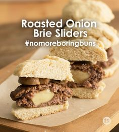 Roasted Onion Brie Sliders Recipe │Hamburger sliders topped with melty cheese. #nomoreboringbuns