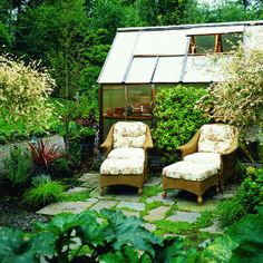 "Someday I too will have a patio ""off a small greenhouse facing the vegetable garden..."""