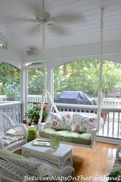 Farmhouse House Plans with Wrap Around Porch to Improve Easily - GoodNewsArchitecture Country Porches, Southern Porches, Home Porch, House With Porch, Porch With Swing, Wicker Porch Swing, Bench Swing, Porch Swings, Summer Porch