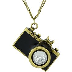 Black Camera Pendant Necklace ($3) ❤ liked on Polyvore featuring jewelry, necklaces, vintage pendant necklace, vintage jewellery, pendant jewelry, pendant necklace and vintage necklace pendants