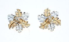 vintage Sarah Coventry silver clip earrings sarah Co. gold leaf leaves #SarahCoventry #Cluster