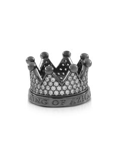 Re Silver and Zircon Crown Ring, has a regal attitude showing just who rules your fashion world. Featuring crown circlet encrusted in hand set black cubic zirconia crystals with etched logo 'King of Azhar.' Gunmetal rhodium plated 925 sterling silver. Made in Italy. Custom size. #Jewelry #fashion #style #women