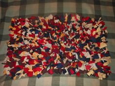 Recycled T Shirt Shag Rag Rug-Blue Brown Red Tans by melmac84