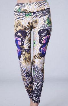 Asian Butterfly Full Length Yoga Pants