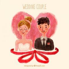 Mão pintado casamento casal
