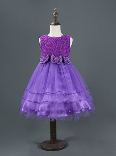 Floral, Flower and Lace Formal Dress - Purple