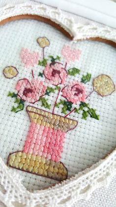 Cross stitch flower