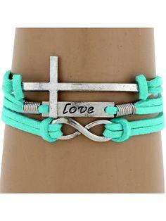 Multi-Strand Infinity, Love, and Cross Bracelet