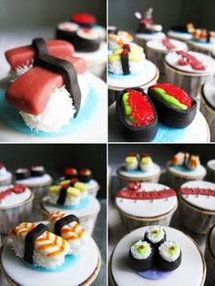 Sushi for dessert? Chocolate cupcakes topped with sushi sculpted from fondant.