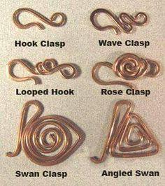 (Photo) Jewelry findings from wire Jewelry Clasps, Copper Jewelry, Wire Wrapped Jewelry, Jewelry Findings, Handmade Wire Jewelry, Wire Jewellery, Wire Necklace, Jewelry Tree, Wire Earrings
