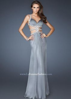 La Femme Prom - 18502 Super sexy chiffon gown with deep V neckline. The bust is gathered with a cut out bodice coming in platinum and red at Estelle's Dressy Dresses! Grey Evening Dresses, Grey Prom Dress, Prom Dress 2013, Evening Dresses Online, Prom Dresses For Sale, Homecoming Dresses, Evening Gowns, Dresses 2014, Dress Sale