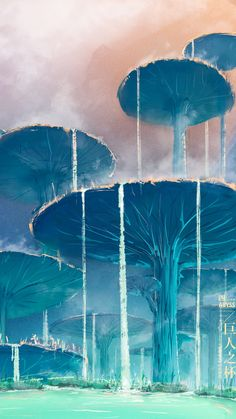 Fantasy Art Landscapes, Landscape Drawings, Landscape Illustration, Fantasy Landscape, Ocean Wallpaper, Cool Wallpaper, Abyss Anime, Landscape Concept, Beautiful Fantasy Art