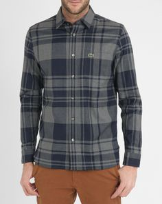 Grey and Blue Checked Flannel Shirt