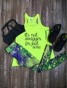 Paint Splatter Leggings with It's Not Swagger I'm Just Sore shirt - Cute fitness outfits and clothes for girls and women #Workout