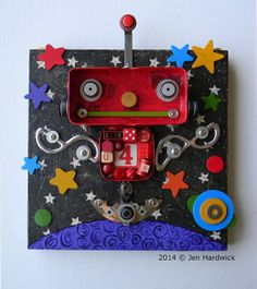 Mr. Red  Color Bot  Recycled Art ASSEMBLAGE  by redhardwick, $125.00