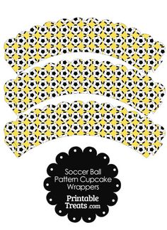 Print and cut out these awesome yellow soccer ball pattern scalloped cupcake wrappers to add a little special something to your cupcakes and muffins. These yellow soccer ball pattern Soccer Practice, Cupcake Wrappers, Print And Cut, Soccer Ball, Activities For Kids, Printables, Football, Yellow, Party