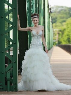 Charmeuse Deep Plunging Sweetheart Ruched Bodice Ball Gown Wedding Dress