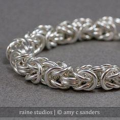Hefty Sterling Byzantine Bracelet 12 gauge 12g Sterling Silver