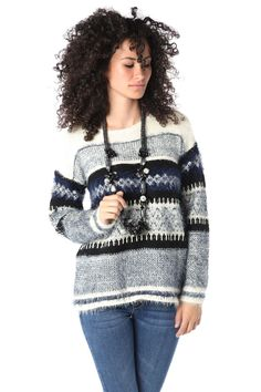 Pullover morbido stampato blu - 54,90 € - https://q2shop.com/