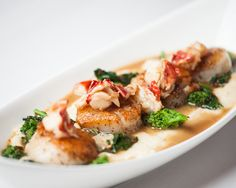 Pan Seared Sea Scallops Soft Semolina Polenta, Garlic Chili Broccoli Rabé, Lobster Brown Butter