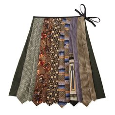 The skirt's wide front panel is crafted from the narrow and broad ends of upcycled neckties, creating an earthy pallet of grays, blues, browns and greens.