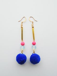 Blue PomPom with Opalite and glass Beads. Gold Plated Earrings, Drop Earrings, Glass Beads, Gemstones, Unique, Bracelets, Handmade, Blue, Color