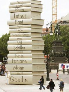 Giant Books sculpture-Berlin Germany. Imagine this for Cheltenham Literature Festival