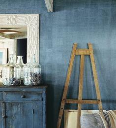 Ralph Lauren Indigo Denim paint treatment....less $$$, DIY alternative for grasscloth wallpaper???