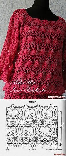 Crochet tunic with diagram