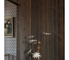 A re/worked classic contemporary black wallpaper with the addition of gilver metallic pears on illustrated metallic copper winter trees. From Cole and Son Contemporary Restyled Collection. Birch Tree Wallpaper, Wood Wallpaper, Black Wallpaper, Beautiful Wallpaper, Style Oriental, Cole And Son Wallpaper, Drops Patterns, Latest Wallpapers, Made To Measure Curtains