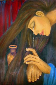 When a woman who had lived a sinful life in that town learned that Jesus was eating at the Pharisee's house, she brought an alabaster jar of perfume, and as she stood behind at his feet weeping, she began to wet his feet with her tears. Then she wiped them with her hair, kissed them and poured perfume on them. —-Luke 7:37-38