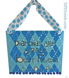 Alpha Delta Pi Painted Canvas.  Custom Stencils from DIYGreek.com, found in the Supply Sack and Project Pack, make this really cute project.  Even if you're not crafty, you too can make this with great results.